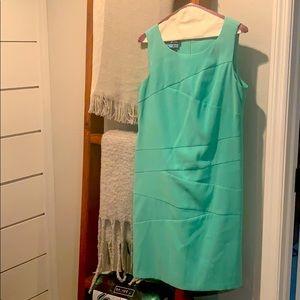 Teal career sleeveless dress / 10